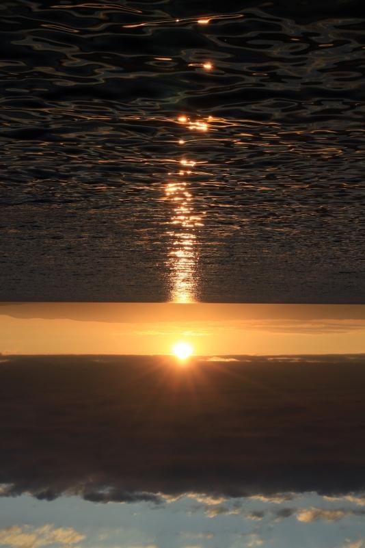 Le coucher de soleil se lève